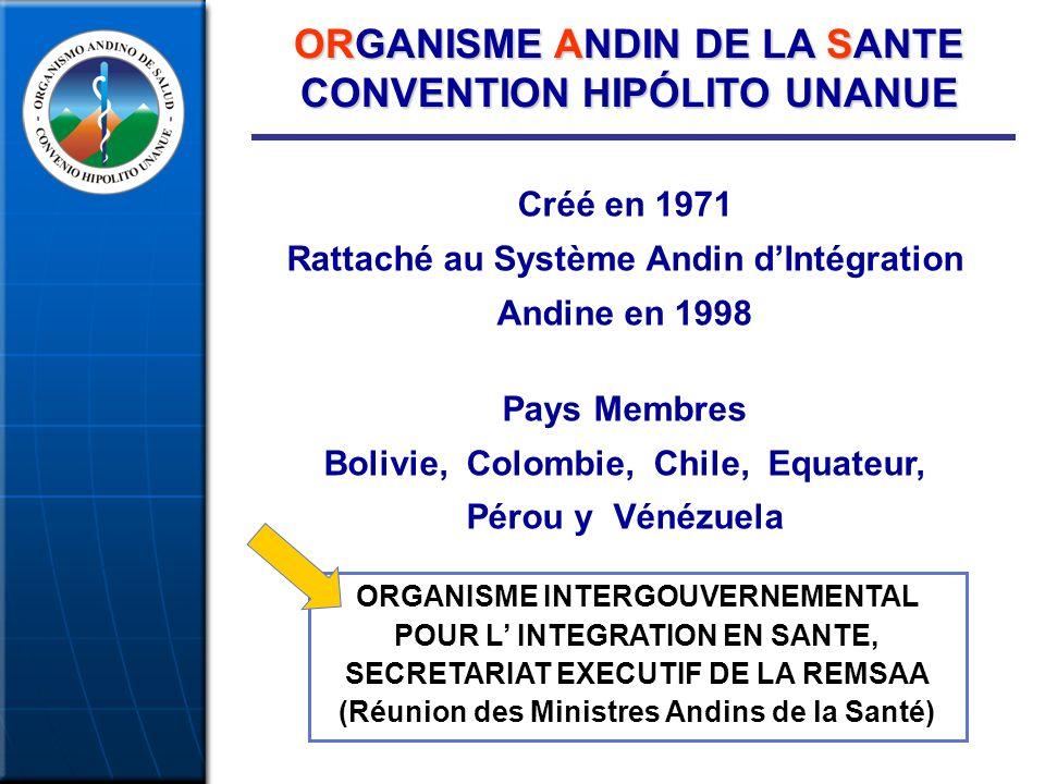 ORGANISME ANDIN DE LA SANTE CONVENTION HIPÓLITO UNANUE Créé en 1971 Rattaché au Système Andin dIntégration Andine en 1998 Pays Membres Bolivie, Colombie, Chile, Equateur, Pérou y Vénézuela ORGANISME INTERGOUVERNEMENTAL POUR L INTEGRATION EN SANTE, SECRETARIAT EXECUTIF DE LA REMSAA (Réunion des Ministres Andins de la Santé)