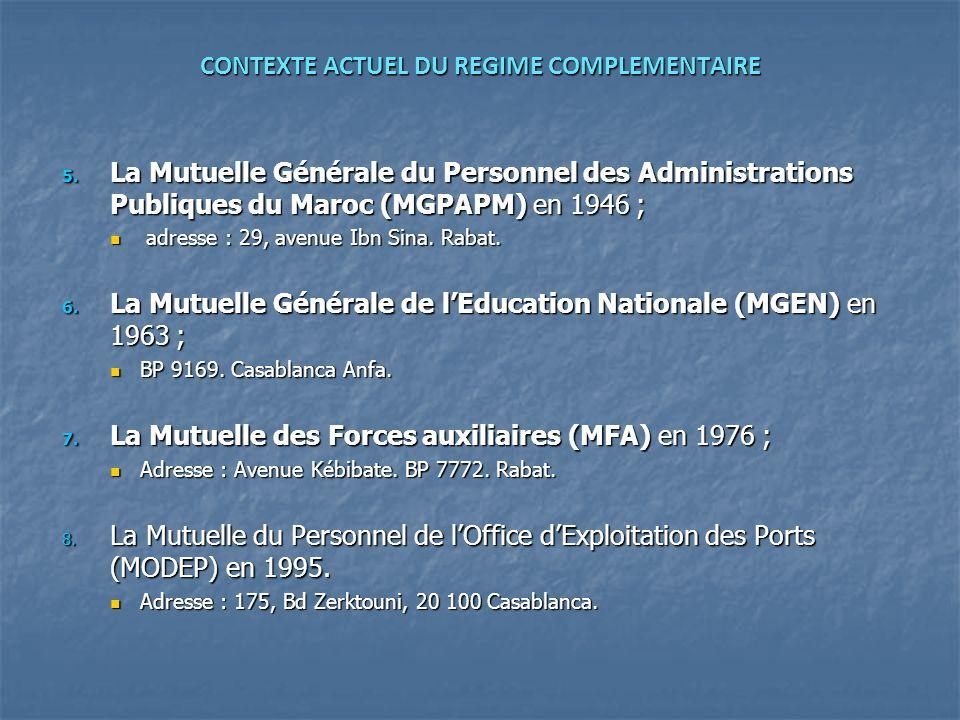 CONTEXTE ACTUEL DU REGIME COMPLEMENTAIRE 5. La Mutuelle Générale du Personnel des Administrations Publiques du Maroc (MGPAPM) en 1946 ; adresse : 29,