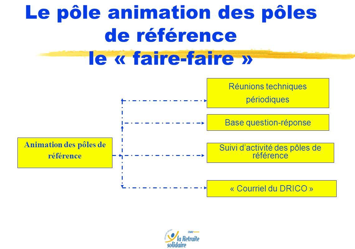 Animation des pôles de référence Base question-réponse Suivi dactivité des pôles de référence « Courriel du DRICO » Le pôle animation des pôles de référence le « faire-faire » Réunions techniques périodiques