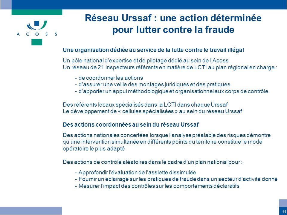 11 Une organisation dédiée au service de la lutte contre le travail illégal Un pôle national dexpertise et de pilotage dédié au sein de lAcoss Un rése