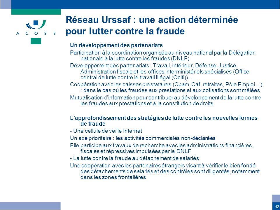 12 Un développement des partenariats Participation à la coordination organisée au niveau national par la Délégation nationale à la lutte contre les fr