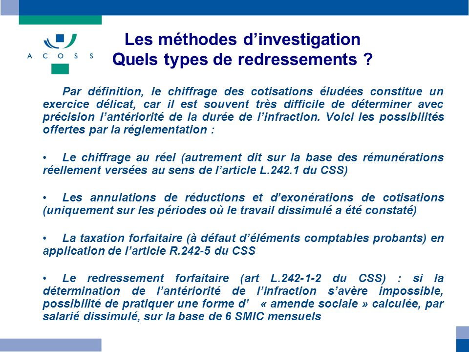 Les méthodes dinvestigation Quels types de redressements .
