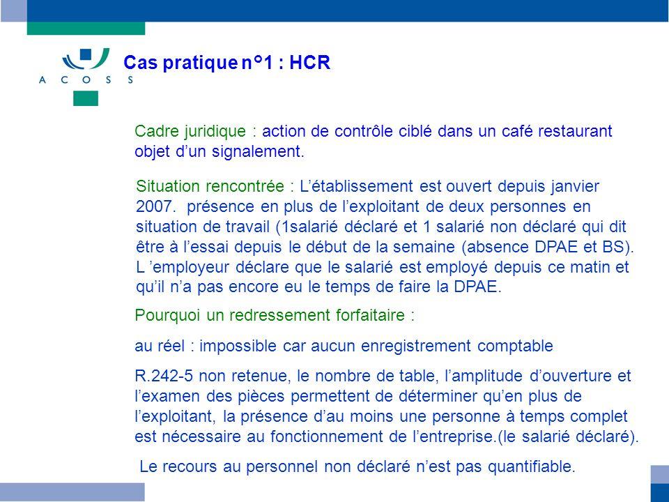 Cas pratique n°1 : HCR Cadre juridique : action de contrôle ciblé dans un café restaurant objet dun signalement. Pourquoi un redressement forfaitaire