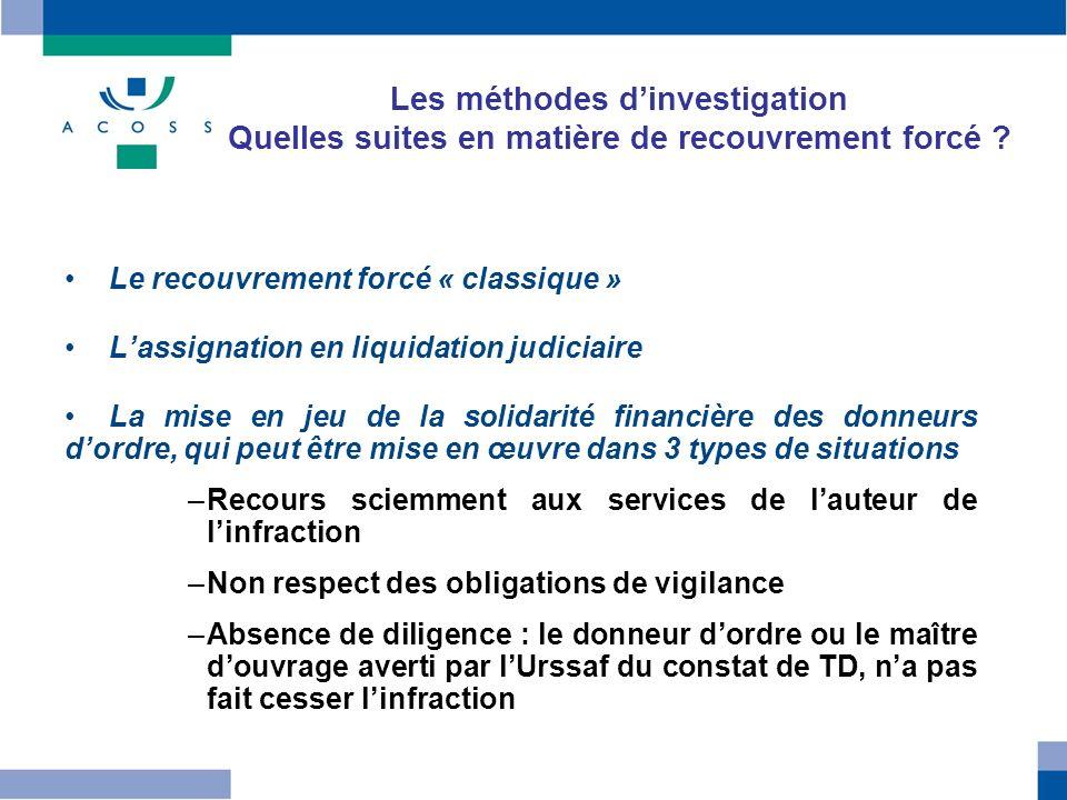 Les méthodes dinvestigation Quelles suites en matière de recouvrement forcé ? Le recouvrement forcé « classique » Lassignation en liquidation judiciai