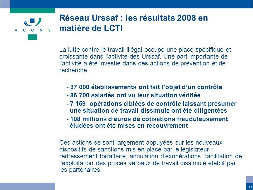 17 La lutte contre le travail illégal occupe une place spécifique et croissante dans lactivité des Urssaf. Une part importante de lactivité a été inve