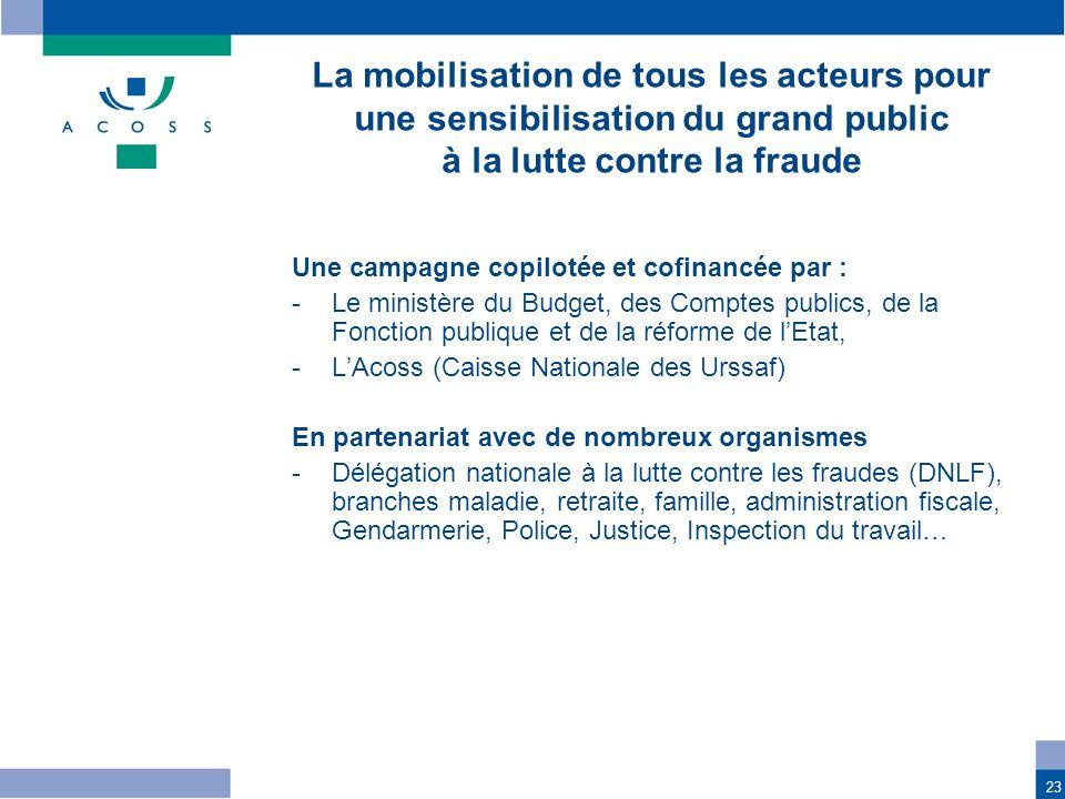 23 Une campagne copilotée et cofinancée par : -Le ministère du Budget, des Comptes publics, de la Fonction publique et de la réforme de lEtat, -LAcoss