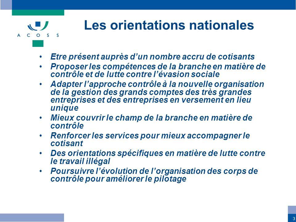 3 Les orientations nationales Etre présent auprès dun nombre accru de cotisants Proposer les compétences de la branche en matière de contrôle et de lu