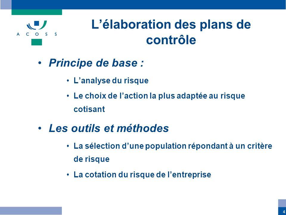 4 Lélaboration des plans de contrôle Principe de base : Lanalyse du risque Le choix de laction la plus adaptée au risque cotisant Les outils et méthod