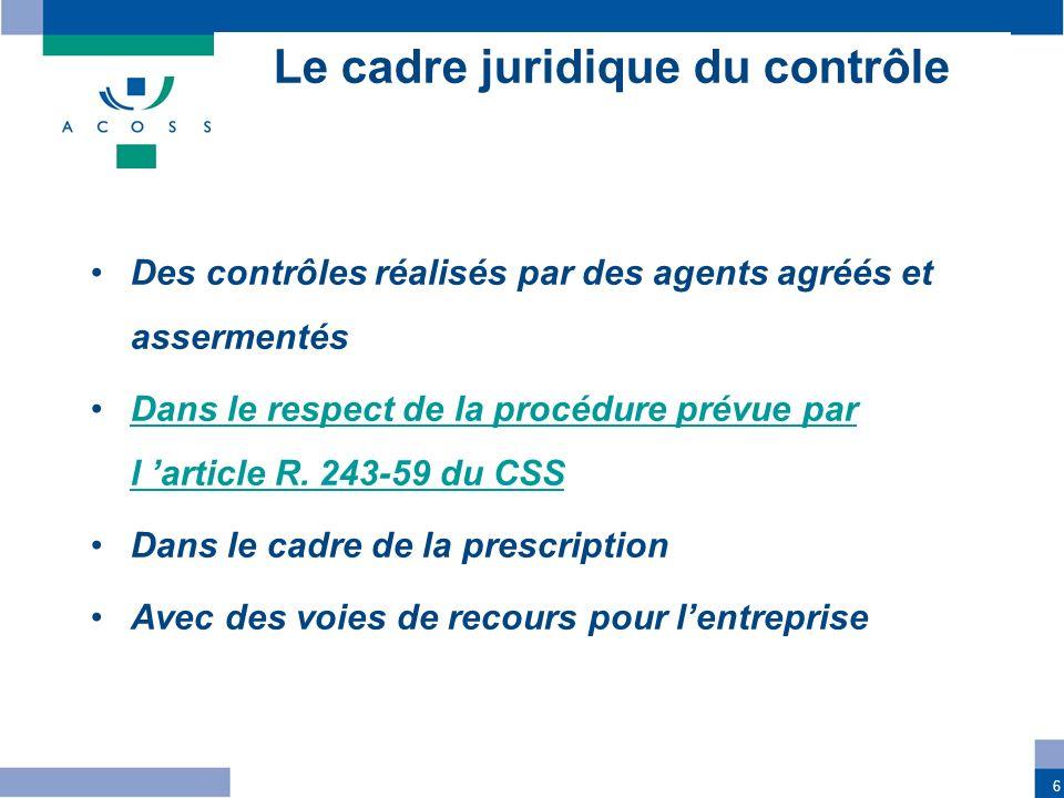 6 Le cadre juridique du contrôle Des contrôles réalisés par des agents agréés et assermentés Dans le respect de la procédure prévue par l article R. 2
