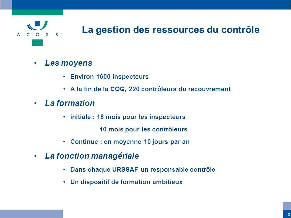 8 La gestion des ressources du contrôle Les moyens Environ 1600 inspecteurs A la fin de la COG, 220 contrôleurs du recouvrement La formation initiale
