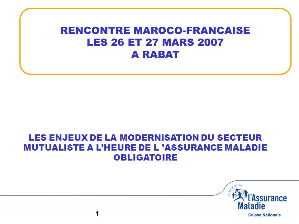 1 LES ENJEUX DE LA MODERNISATION DU SECTEUR MUTUALISTE A LHEURE DE L ASSURANCE MALADIE OBLIGATOIRE RENCONTRE MAROCO-FRANCAISE LES 26 ET 27 MARS 2007 A
