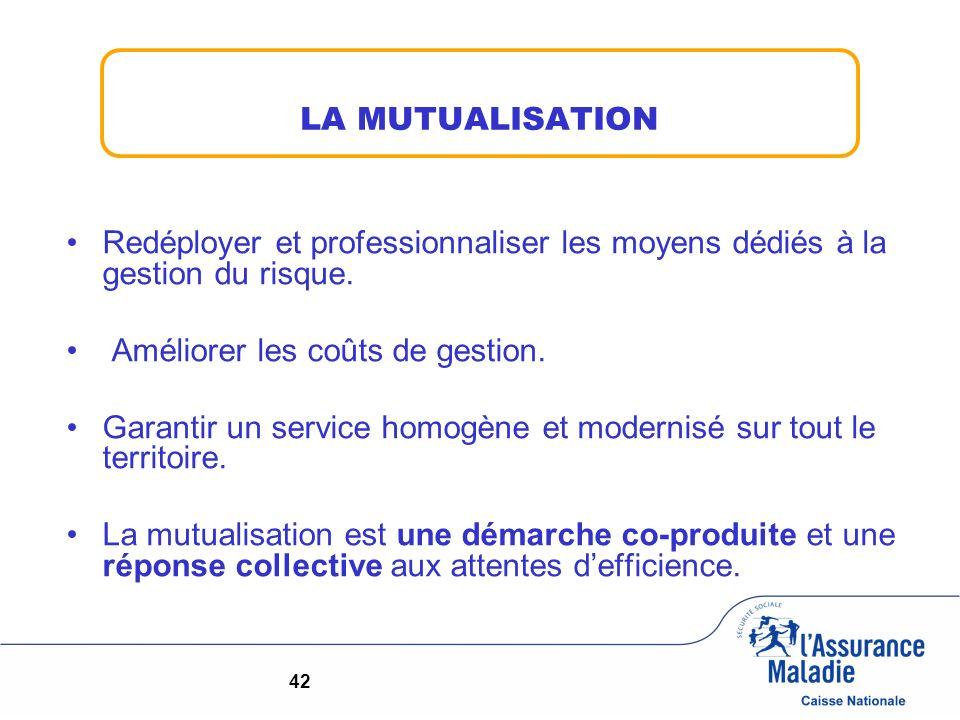 LA MUTUALISATION Redéployer et professionnaliser les moyens dédiés à la gestion du risque. Améliorer les coûts de gestion. Garantir un service homogèn
