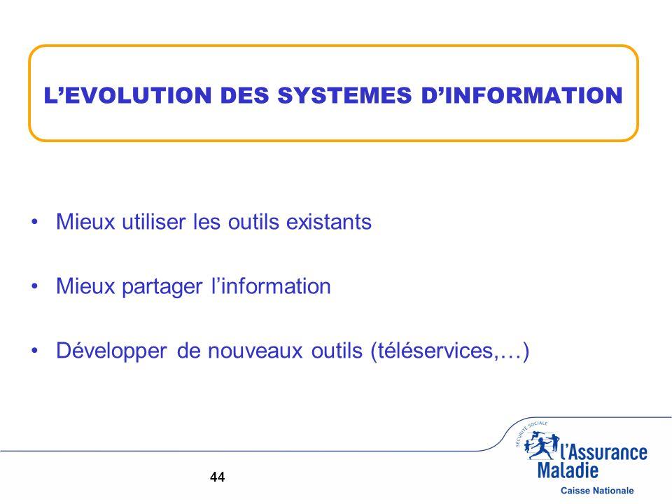 LEVOLUTION DES SYSTEMES DINFORMATION Mieux utiliser les outils existants Mieux partager linformation Développer de nouveaux outils (téléservices,…) 44