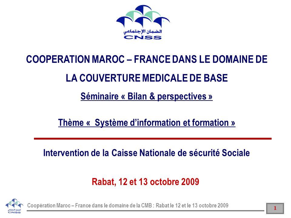 12 Coopération Maroc – France dans le domaine de la CMB : Rabat le 12 et le 13 octobre 2009 SYSTME DINFORMATION DE LAMO GEREE PAR LA CNSS II SOMMAIRE SCHEMA GLOBAL DU SYSTÈME DINFORMATION DE LA CNSS I12 INERFACAGE AVEC LES AUTRES SI DE LA CNSS III PROJETS SI EN COURS DE REALISATION IV PROCEDURES DE TRAVAIL V FORMATION VI