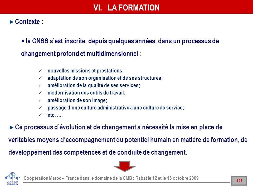 18 Coopération Maroc – France dans le domaine de la CMB : Rabat le 12 et le 13 octobre 2009 VI.LA FORMATION Contexte : la CNSS sest inscrite, depuis q