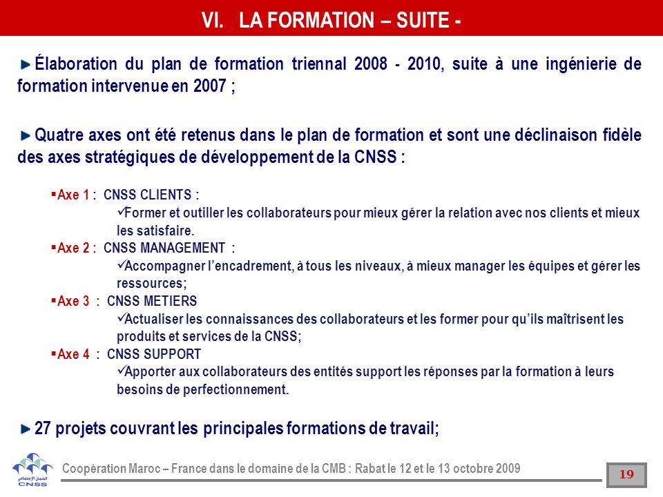 19 Coopération Maroc – France dans le domaine de la CMB : Rabat le 12 et le 13 octobre 2009 Élaboration du plan de formation triennal 2008 - 2010, sui