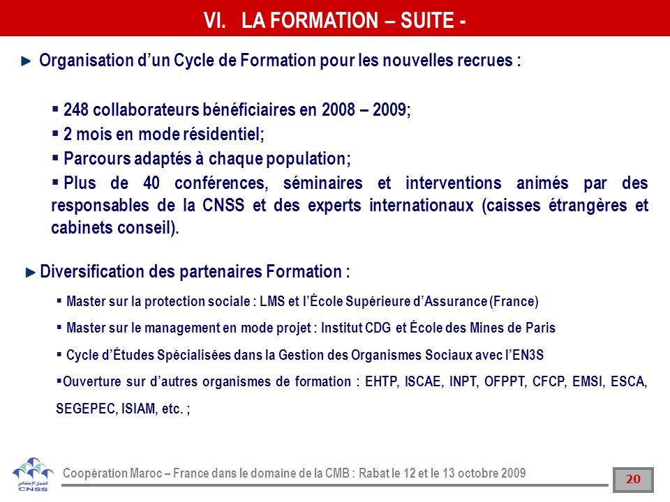 20 Coopération Maroc – France dans le domaine de la CMB : Rabat le 12 et le 13 octobre 2009 Organisation dun Cycle de Formation pour les nouvelles rec