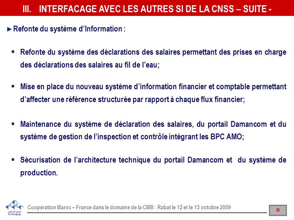 9 Coopération Maroc – France dans le domaine de la CMB : Rabat le 12 et le 13 octobre 2009 Mise en application de la traçabilité des dossiers AMO cest-à-dire le suivi du cycle de vie dun dossier AMO depuis son dépôt au niveau des agences locales jusquau paiement et archivage.