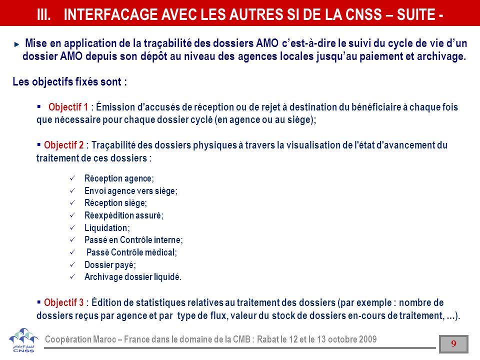 9 Coopération Maroc – France dans le domaine de la CMB : Rabat le 12 et le 13 octobre 2009 Mise en application de la traçabilité des dossiers AMO cest