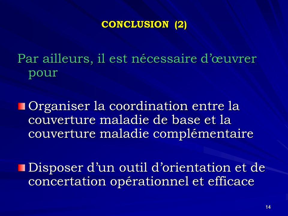 14 CONCLUSION (2) Par ailleurs, il est nécessaire dœuvrer pour Organiser la coordination entre la couverture maladie de base et la couverture maladie complémentaire Disposer dun outil dorientation et de concertation opérationnel et efficace