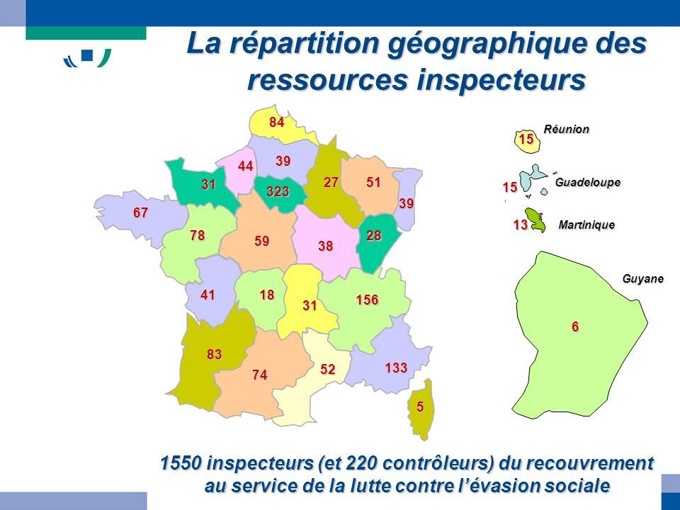 5 133 52 156 31 38 28 39 5127 84 39 323 44 31 67 78 83 41 59 18 74 Martinique Guadeloupe Réunion Guyane 15 15 13 6 1550 inspecteurs (et 220 contrôleur