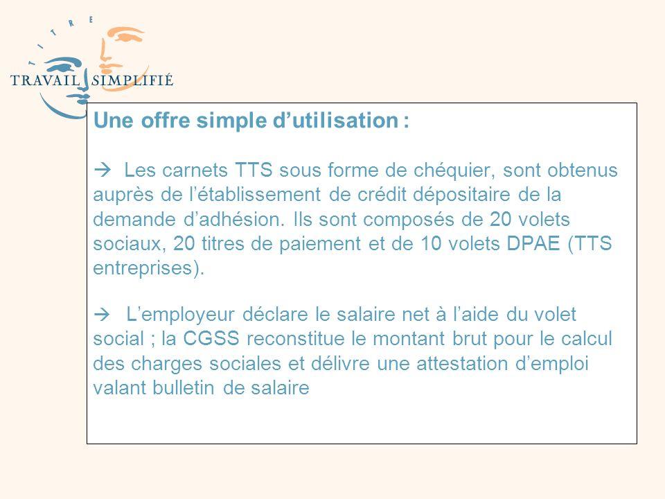 Une offre simple dutilisation : Les carnets TTS sous forme de chéquier, sont obtenus auprès de létablissement de crédit dépositaire de la demande dadh
