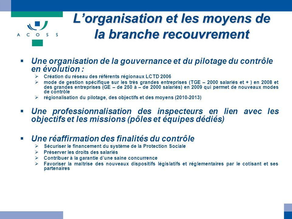 Lorganisation et les moyens de la branche recouvrement Une organisation de la gouvernance et du pilotage du contrôle en évolution : Création du réseau