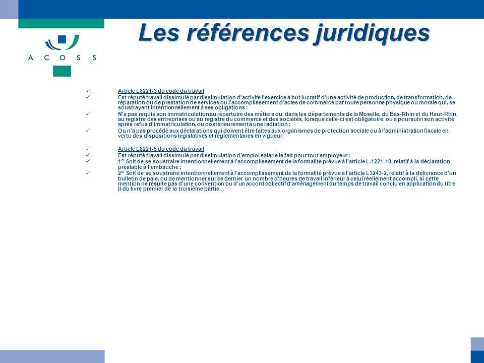 Les références juridiques Article L8221-3 du code du travail Est réputé travail dissimulé par dissimulation d'activité l'exercice à but lucratif d'une