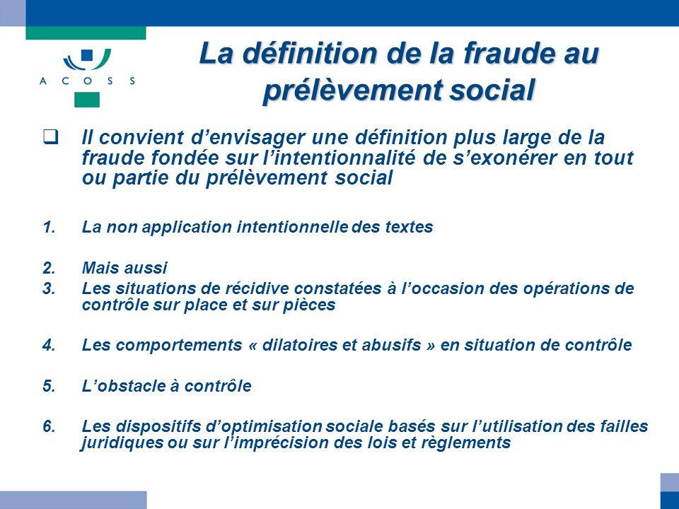 La définition de la fraude au prélèvement social Il convient denvisager une définition plus large de la fraude fondée sur lintentionnalité de sexonére