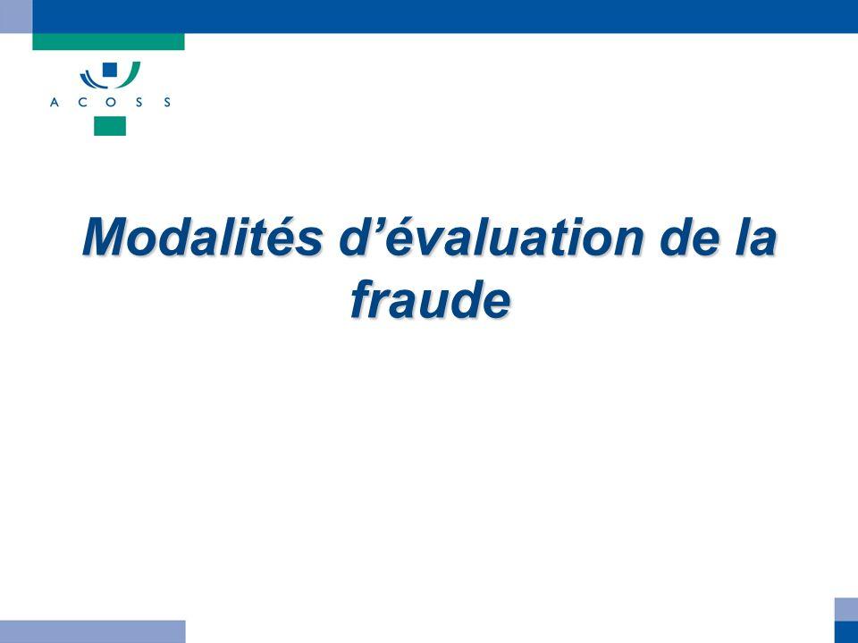 Modalités dévaluation de la fraude