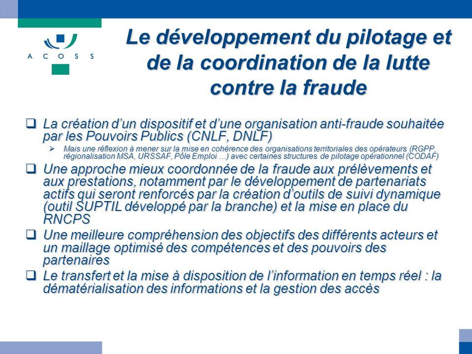 Le développement du pilotage et de la coordination de la lutte contre la fraude La création dun dispositif et dune organisation anti-fraude souhaitée