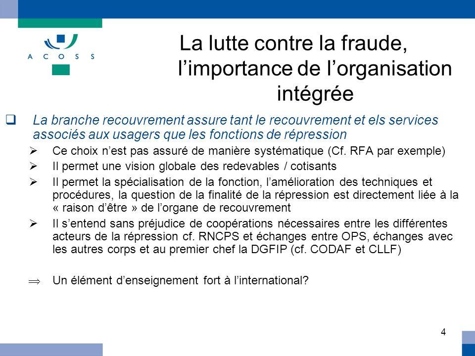 4 La lutte contre la fraude, limportance de lorganisation intégrée La branche recouvrement assure tant le recouvrement et els services associés aux us