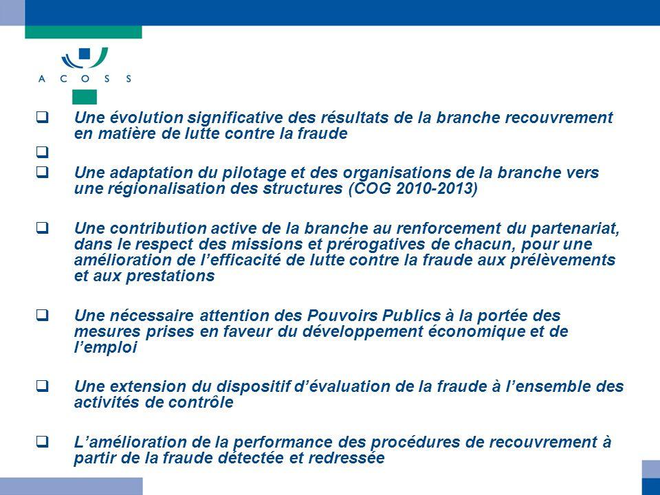 Une évolution significative des résultats de la branche recouvrement en matière de lutte contre la fraude Une adaptation du pilotage et des organisati