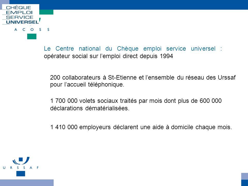 Le Centre national du Chèque emploi service universel : opérateur social sur lemploi direct depuis 1994 Le Cncesu 1 700 000 volets sociaux traités par