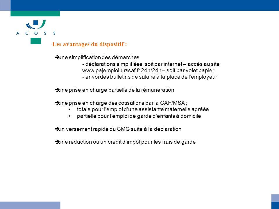 une simplification des démarches - déclarations simplifiées, soit par internet – accès au site www.pajemploi.urssaf.fr 24h/24h – soit par volet papier