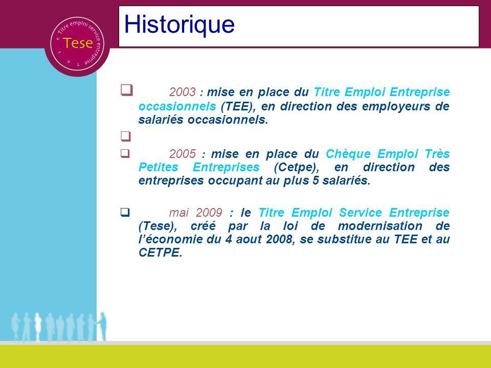 Historique 2003 : mise en place du Titre Emploi Entreprise occasionnels (TEE), en direction des employeurs de salariés occasionnels. 2005 : mise en pl