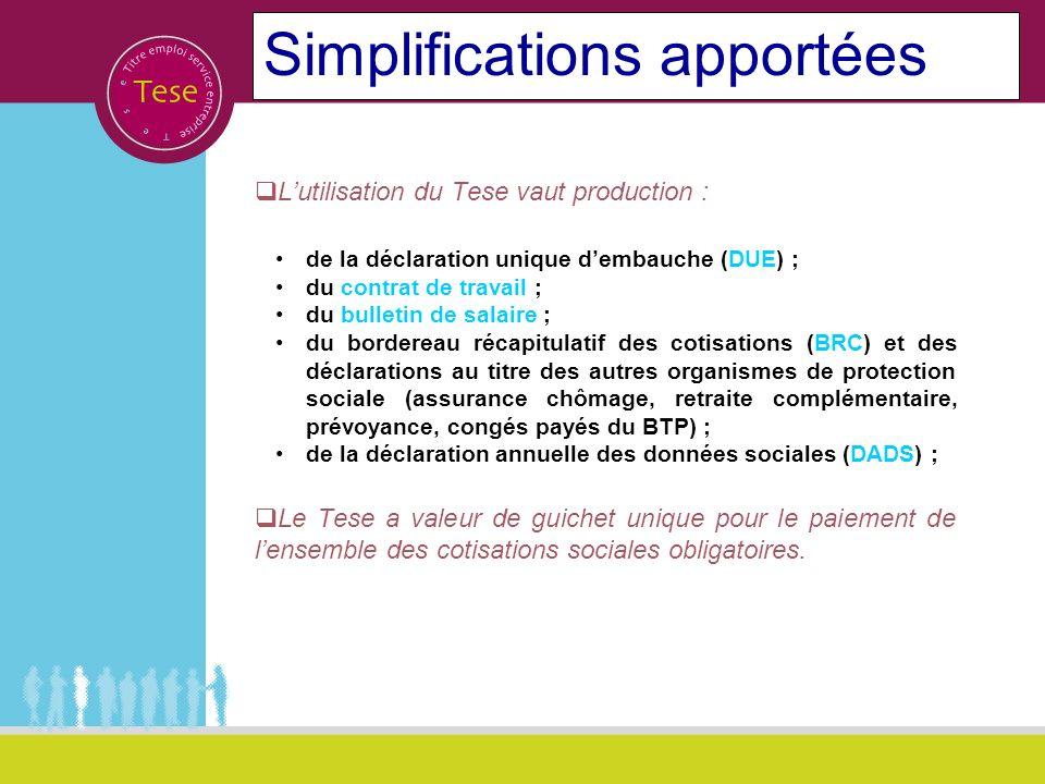 Simplifications apportées Lutilisation du Tese vaut production : de la déclaration unique dembauche (DUE) ; du contrat de travail ; du bulletin de sal