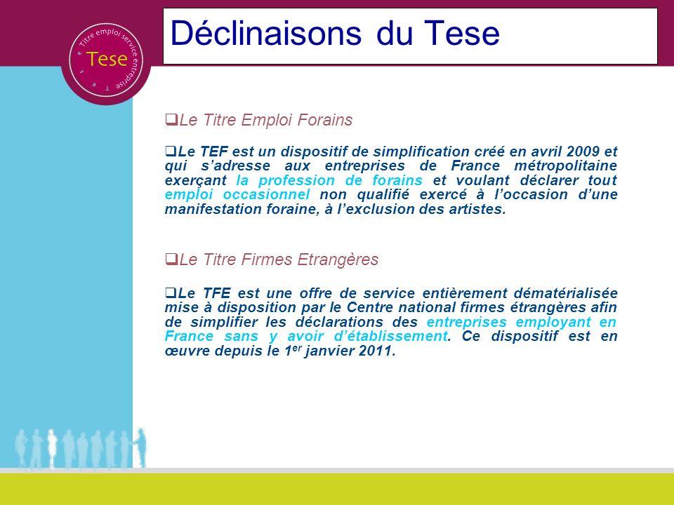 Déclinaisons du Tese Le Titre Emploi Forains Le TEF est un dispositif de simplification créé en avril 2009 et qui sadresse aux entreprises de France m