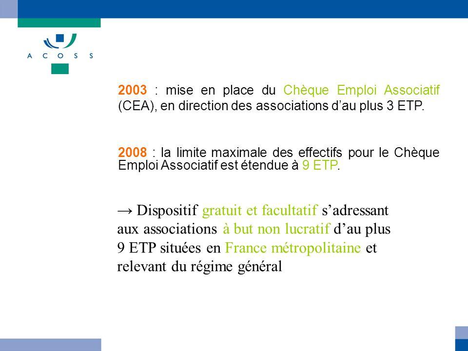 2003 : mise en place du Chèque Emploi Associatif (CEA), en direction des associations dau plus 3 ETP. 2008 : la limite maximale des effectifs pour le