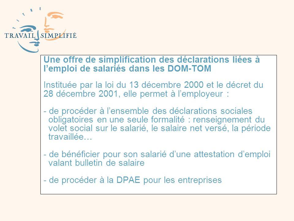 Une offre de simplification des déclarations liées à lemploi de salariés dans les DOM-TOM Instituée par la loi du 13 décembre 2000 et le décret du 28