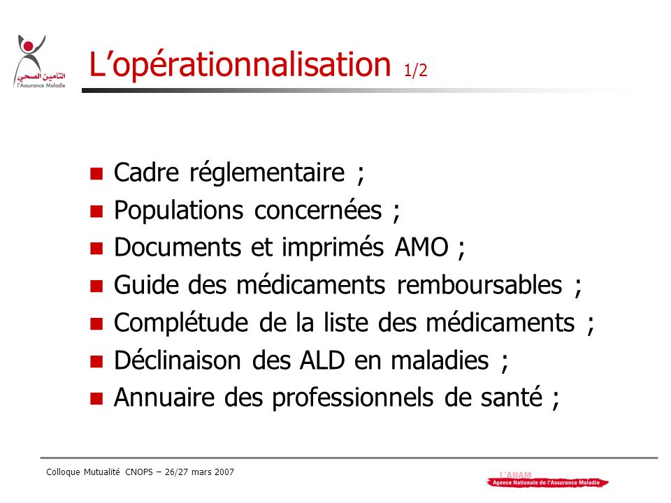 Colloque Mutualité CNOPS – 26/27 mars 2007 Lopérationnalisation 1/2 Cadre réglementaire ; Populations concernées ; Documents et imprimés AMO ; Guide d