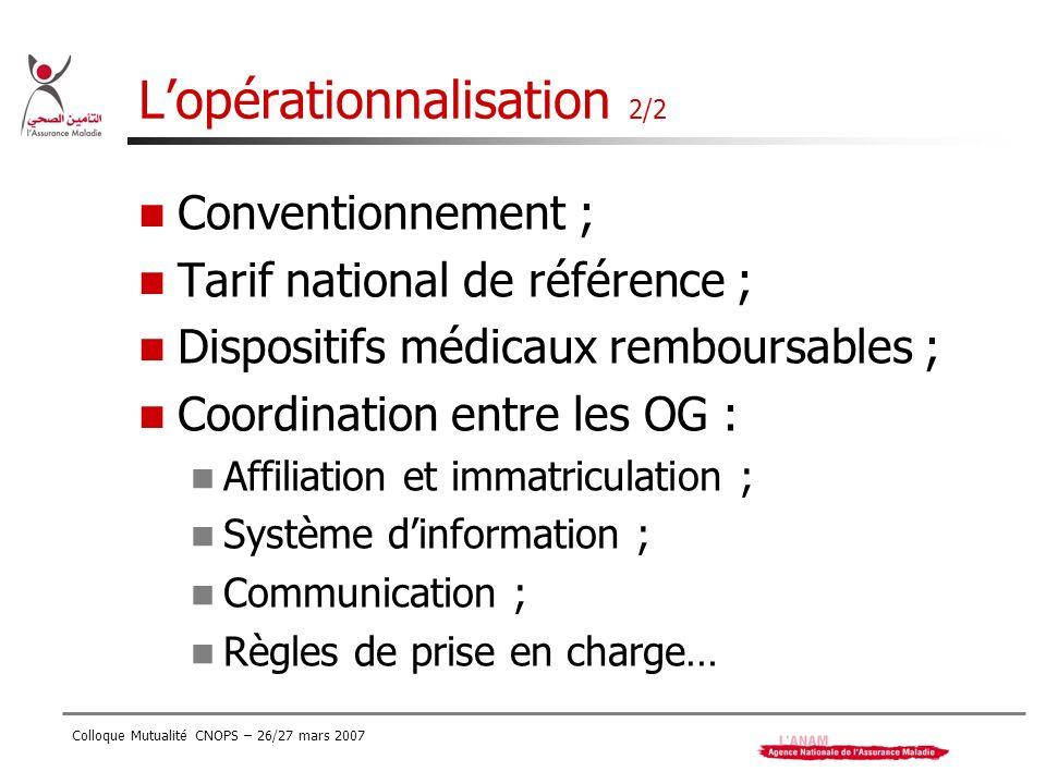 Colloque Mutualité CNOPS – 26/27 mars 2007 Lopérationnalisation 2/2 Conventionnement ; Tarif national de référence ; Dispositifs médicaux remboursable