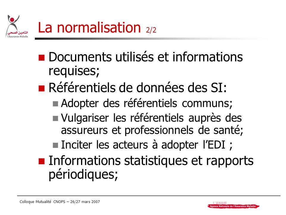 Colloque Mutualité CNOPS – 26/27 mars 2007 La normalisation 2/2 Documents utilisés et informations requises; Référentiels de données des SI: Adopter d