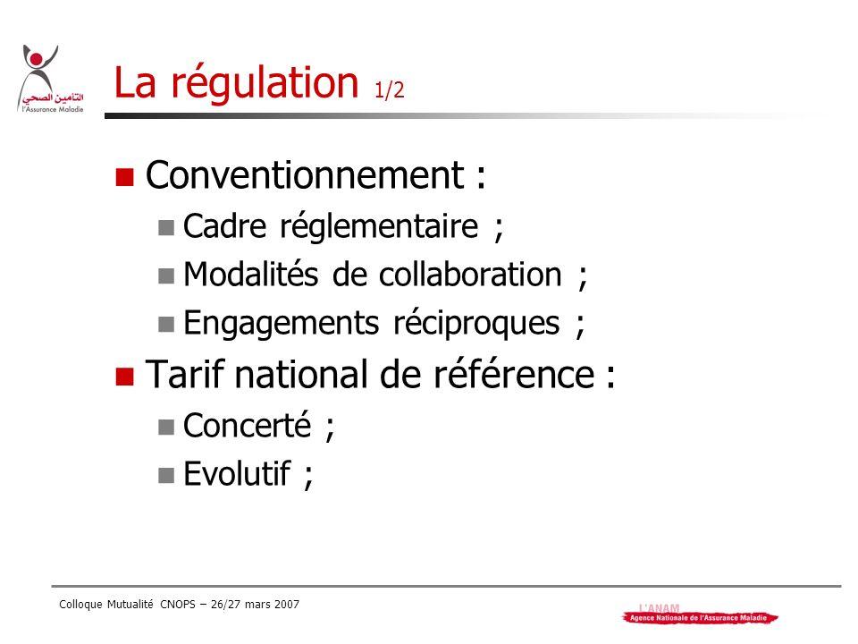 Colloque Mutualité CNOPS – 26/27 mars 2007 La régulation 1/2 Conventionnement : Cadre réglementaire ; Modalités de collaboration ; Engagements récipro