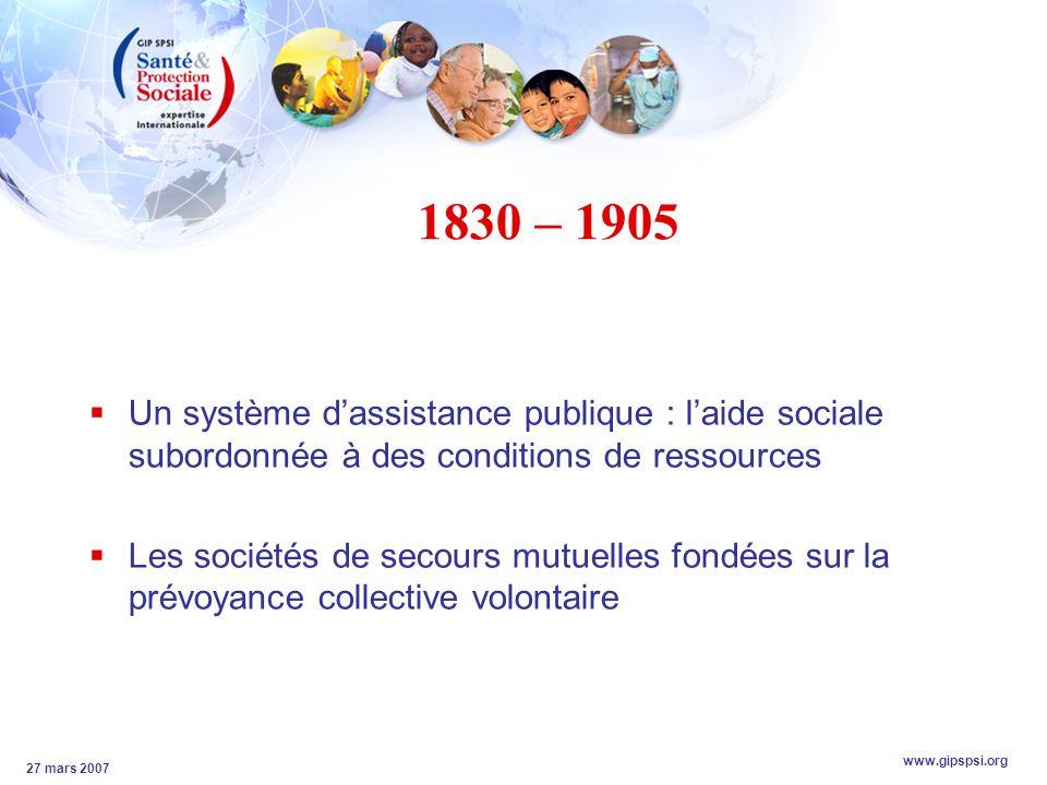 www.gipspsi.org 27 mars 2007 1830 – 1905 Un système dassistance publique : laide sociale subordonnée à des conditions de ressources Les sociétés de secours mutuelles fondées sur la prévoyance collective volontaire