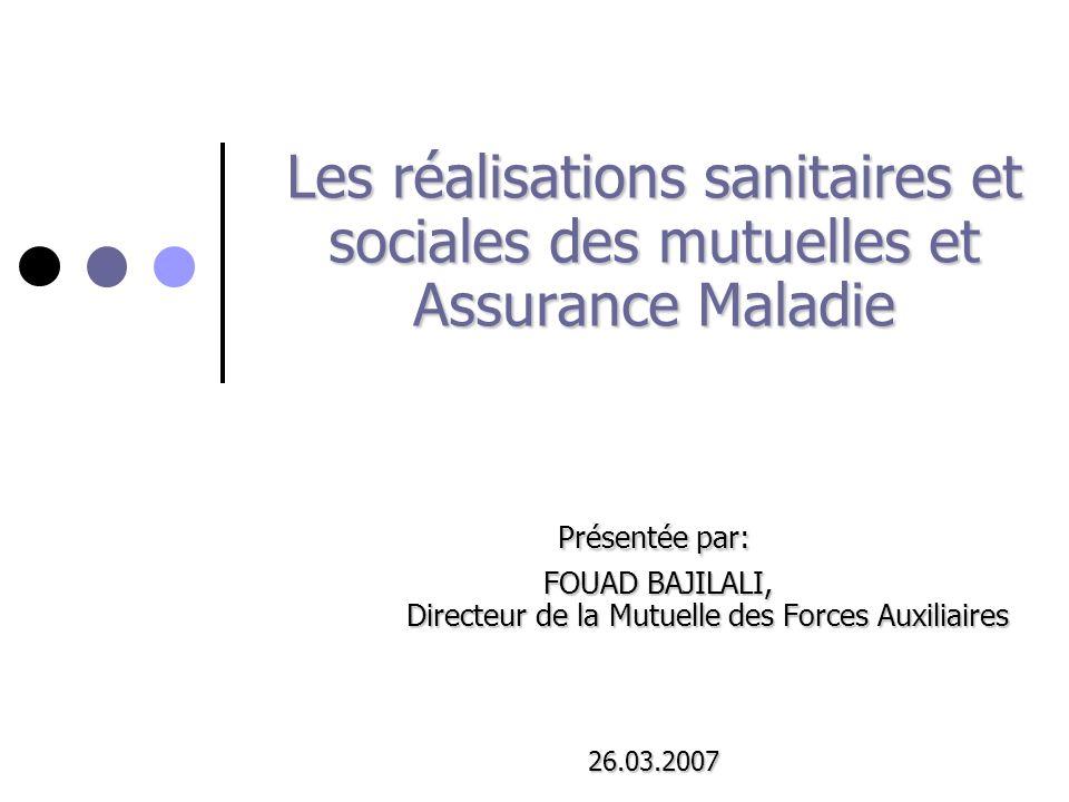 Les réalisations sanitaires et sociales des mutuelles et Assurance Maladie Présentée par: FOUAD BAJILALI, Directeur de la Mutuelle des Forces Auxiliai