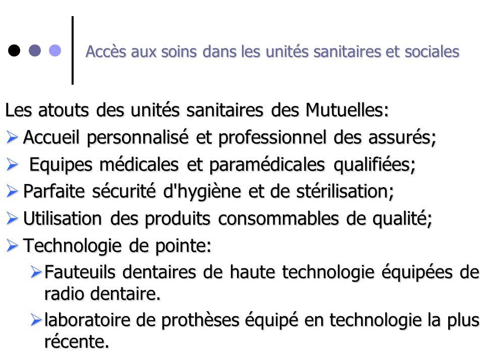 Accès aux soins dans les unités sanitaires et sociales Les atouts des unités sanitaires des Mutuelles: Accueil personnalisé et professionnel des assur