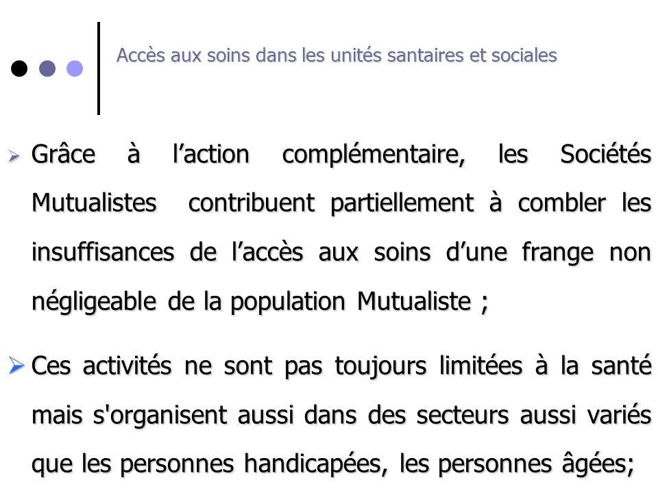 Accès aux soins dans les unités santaires et sociales Grâce à laction complémentaire, les Sociétés Mutualistes contribuent partiellement à combler les