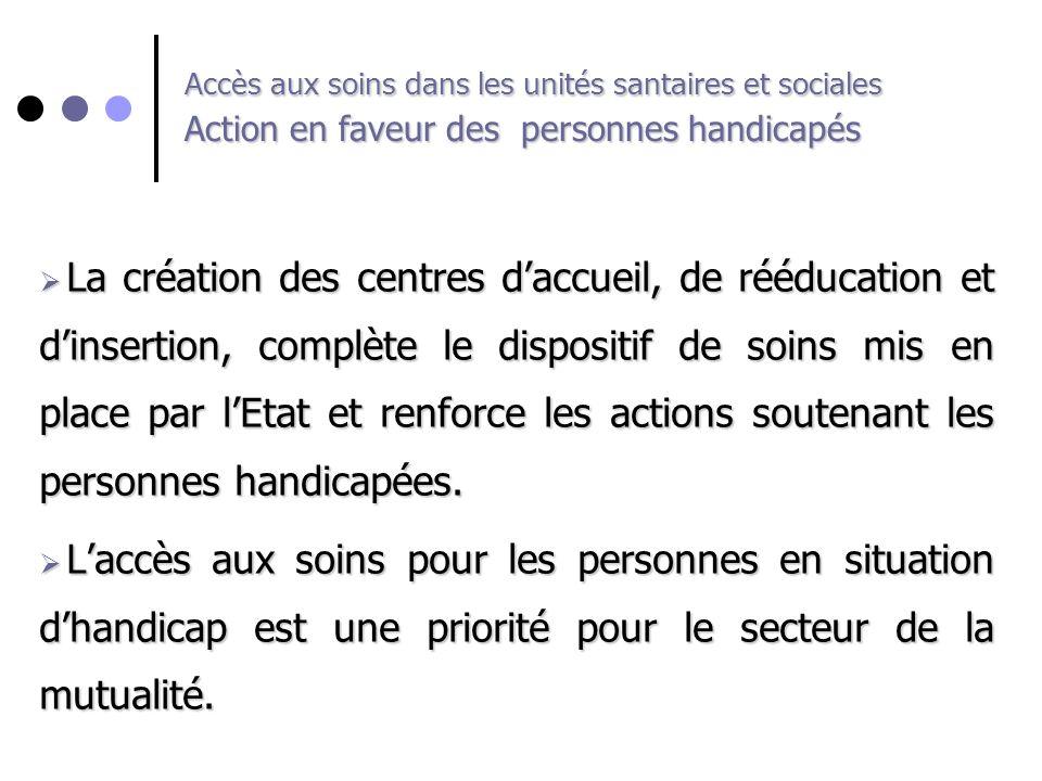 Accès aux soins dans les unités santaires et sociales Action en faveur des personnes handicapés La création des centres daccueil, de rééducation et di