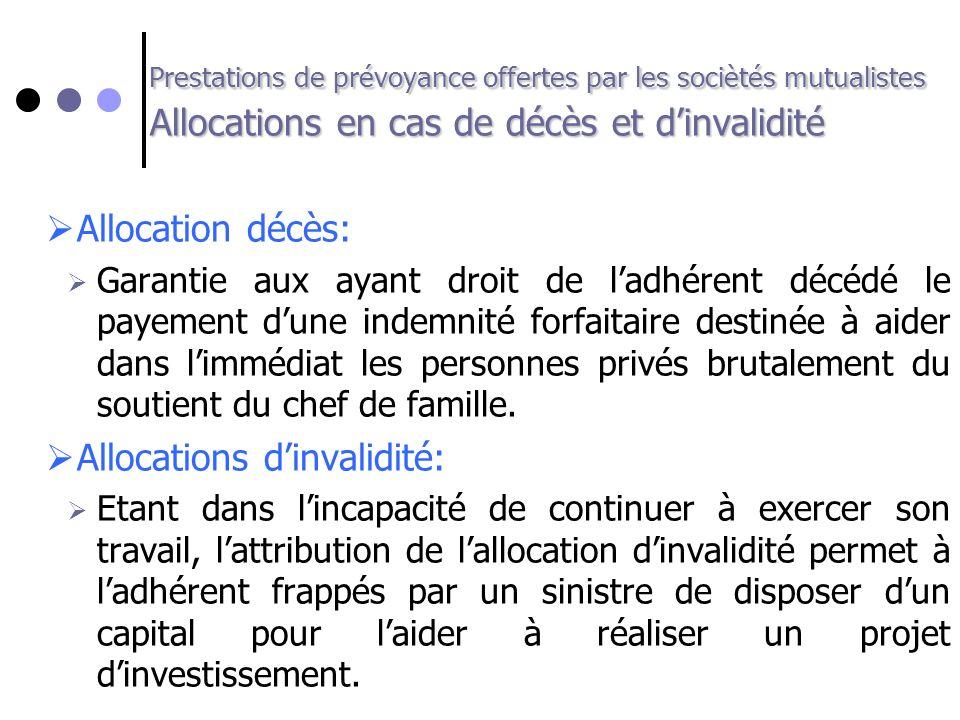 Prestations de prévoyance offertes par les sociètés mutualistes Allocations en cas de décès et dinvalidité Allocation décès: Garantie aux ayant droit